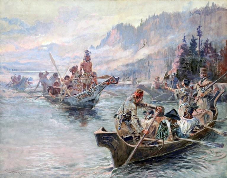 Charles M. Russell (1864-1926); Lewis y Clark en el Bajo Columbia; 1905.